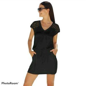 Calvin Klein Crochet-Shoulder Tunic Cover- Women's